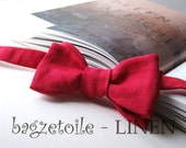 Handmade Bow Tie - red linen, freestyle, self tie, just for men, adjustable bowtie - a wedding favorite.