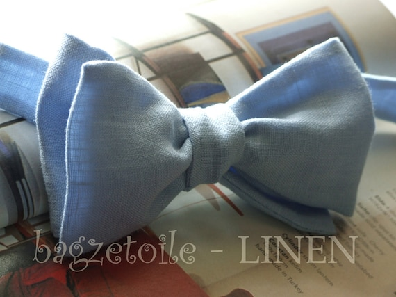 Mens Bowtie - Linen Bow Tie, pale blue solid color /  I make freestyle bowties for men - fits collar size 14 to 18.5 inches - self tie.