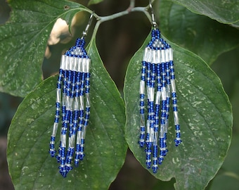 Native American Style Cobalt Blue And Silver Earrings - Hand Beaded Earrings - Gift For Her - Tribal - Boho - Hippie - Two Feathers Jewelry
