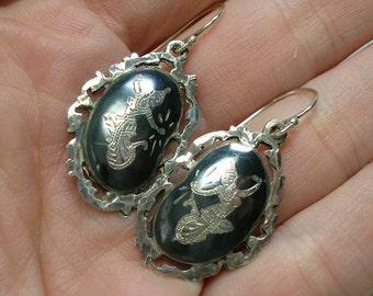 Siam Niello Earrings, 1950s Bean Shape, 925 Silver, Hollywood Regency Mid Century