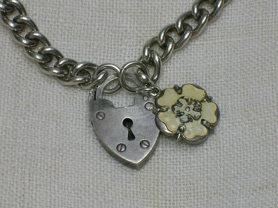 English Sterling Charm Bracelet: Tudor Rose & Heart Lock, 1947
