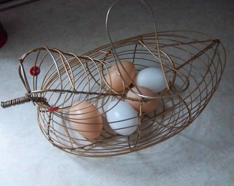 Vintage Wire Egg Gathering Basket