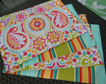 Placemats -  Customize Your Own Stripe Paisley Pillowscape Reversible Placemats - You Select The Fabrics To Coordinate With Your Home Decor