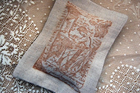 A Room of Her Own Lavender Sachet/ Sepia on Linen (Gifts under 10 dollars) -Stocking Stuffers