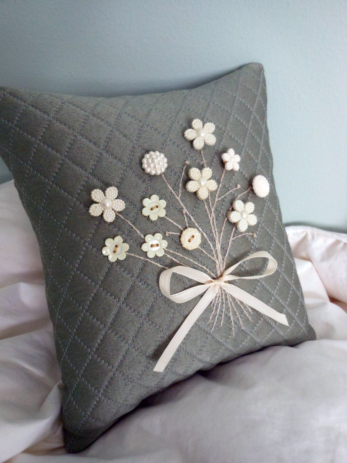 Decorative Pillow Quilted Gray Pillow with White by AThymetoSew