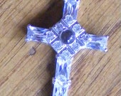 Cross with Silver Setting and Clear Stones