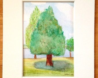 Original Art 8 x 10 Watercolor Tree Painting - Three Trees - Marquette, Michigan - Matted Artwork, Landscape, Nature Scene, home decor