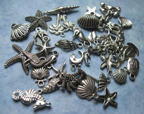 BIG Beach Charms Pendants Collection of 39 in Silver Tone - C1283