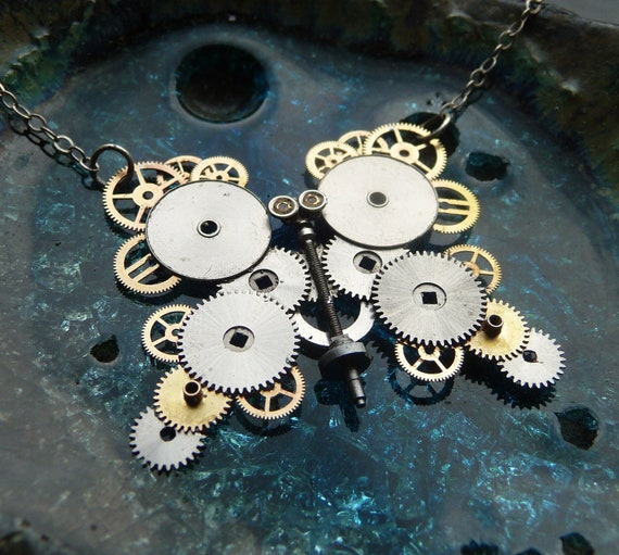 "Butterfly Necklace ""Royal Butterfly"" Mechanical Watch Gears Stems Balance Wheel Butterfly Sculpture Organic Wing Choker Pendant"
