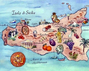 Map of the Island of Sicily Italy Reproduction Art Print of Original Watercolor by North Carolina Artist Kathleen Gwinnett