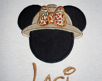 Minnie Mouse Safari applique t shirt  - Personalized in Disney font your choice of colors