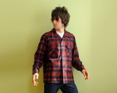 60s 70s Pendleton REAL MAN plaid flannel shirt red blue 100% virgin wool large Lucky 7