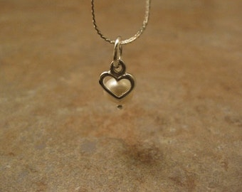 pearl necklace, heart pearl necklace, pearl jewelry, pearl heart necklace,  18kt white gold plated chain, heart charm, heart pendant