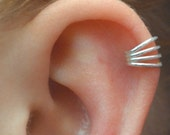 Ear Cuff  -  Shimmering Four Wire -  Sterling Silver - SINGLE