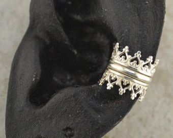 Triple Crown Ear Cuff - Sterling Silver - SINGLE SIDE