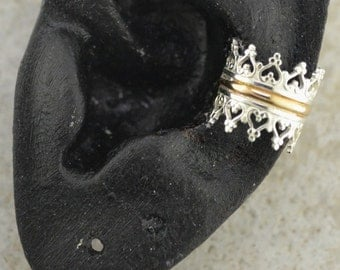 Crown Ear Cuff - Sterling Silver and Gold Filled - Single Side or Pair