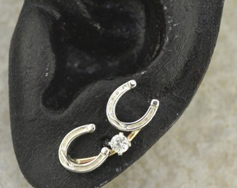 Horseshoe Earring Pin Mini- Gold Filled and Sterling Silver - SINGLE SIDE