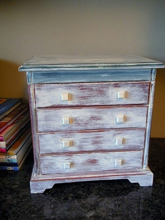 Vintage Distressed ivory white jewelry box wooden large upcycled shabby chic