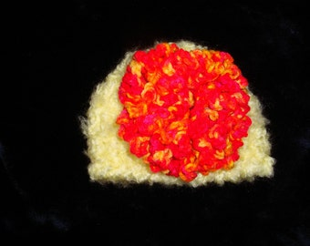 Crochet Yellow Newborn Photo Prop Hat with Detachable Flower