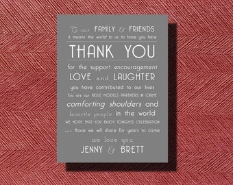 Wedding Day Thank You Note to Guests, Wedding Thank You Note, Special Thank You for Guests on Your Wedding Day or any Special Event