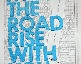 Detroit/ May The Road Rise With You/ Letterpress Print on Antique Atlas Page