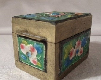 Vintage Brass & Enamel Postage Stamp Box Holder