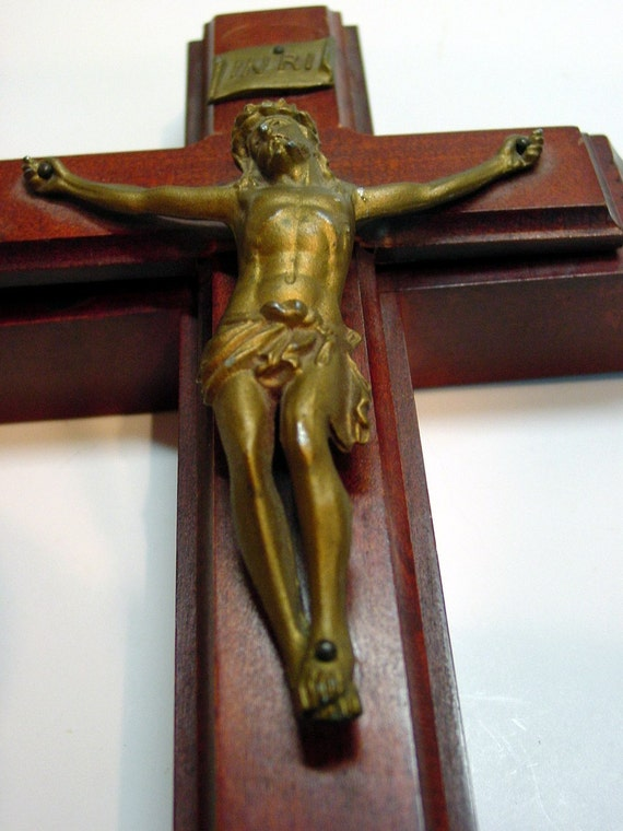 Reserved for Mark Vintage Crucifix and Holy Water Wall Hanging