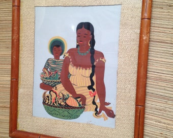 Vintage Mexican Mexico Framed Art Print 1950's Marked Seri Mother and Son