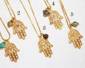 Hamsa charm necklace, gold necklace, Judaica jewelry, hamsa charm, hamsa necklace, evil eye charm necklace