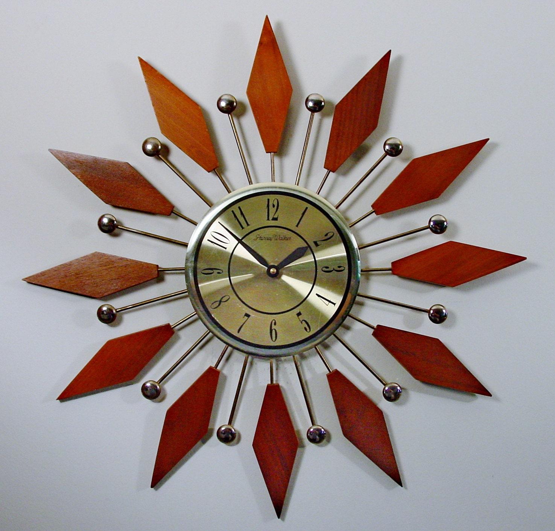 Mid Century Modern Starburst Clock 1960s Sunburst Clock Mod