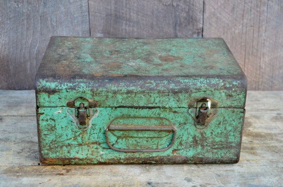 Shabby Metal Box Tools Storage Light Green Mint Rusty Chippy Industrial