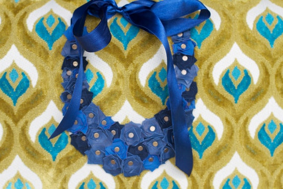 Handmade Yami Navy and Blue Leather Necklace