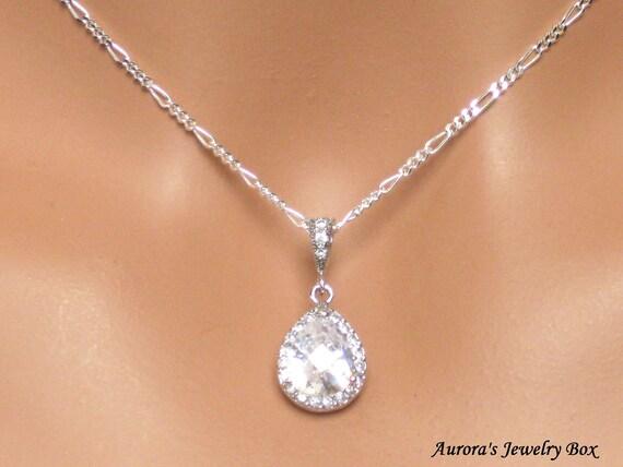 Wedding Necklace. Bridal Necklace. Cubic Zirconia Pendant. Bridal Jewelry. Wedding Jewelry. Rhinestone. Crystal. Bridesmaids Jewelry - Grace