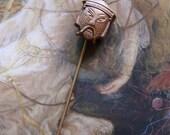 Vintage Brass Mongolian Man Pin