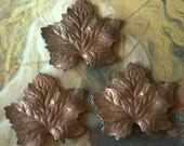 3 Vintage Old Brass Victorian Maple Leaf Pieces