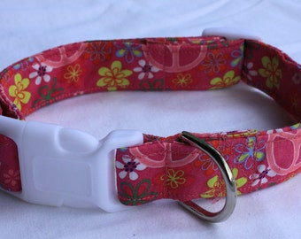 Pink Peace Dog Collar Size XS, S, M or L