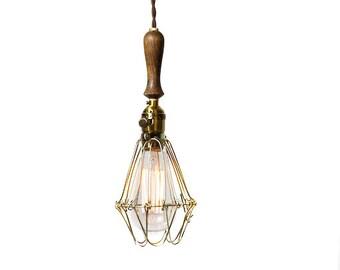 Vintage Farmhouse Wood Handle Economy Caged Trouble Light Pendant ( Brown / Antique Brass )