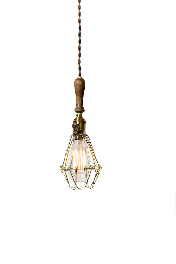 Vintage Farmhouse Wood Handle Economy Caged Trouble Light Pendant ( Brown / Antique Brass )