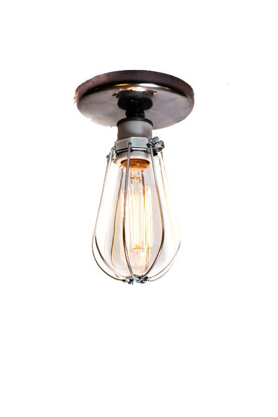 Ceiling Or Wall Light With Cage : Industrial Bare Bulb Caged Light Ceiling Flush Mount / Wall