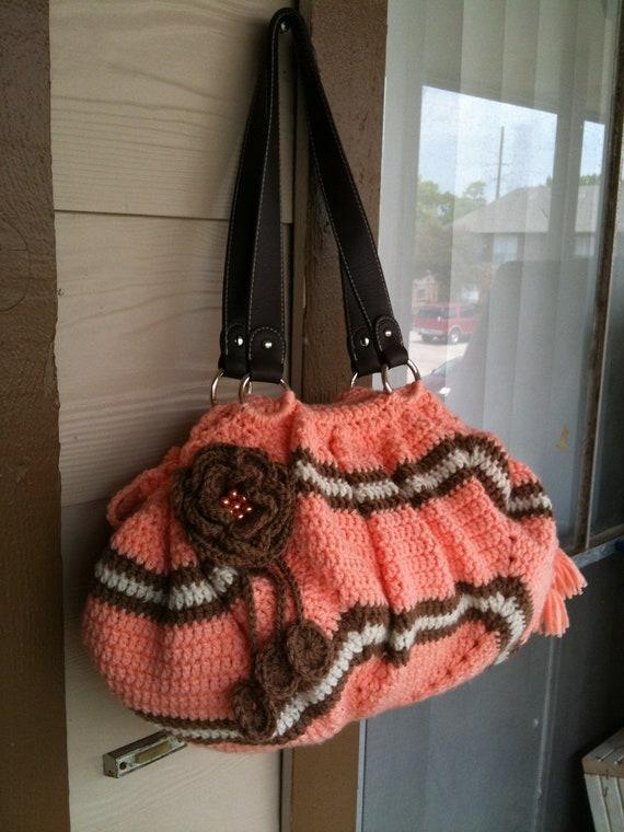 INSTANT DOWNLOAD Peach Crochet Tote Bag Look Like Clutch Pattern