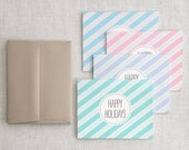 Happy Holidays Card Set of 12 - Recycled Cards - Candy Cane Striped Unique Christmas Cards