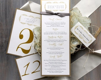 "Gold Wedding Menu Cards, Personalized Place Cards, Gold Wedding Decor, Elegant Gold Table Number - ""Modern Romance Stationery"" Deposit"