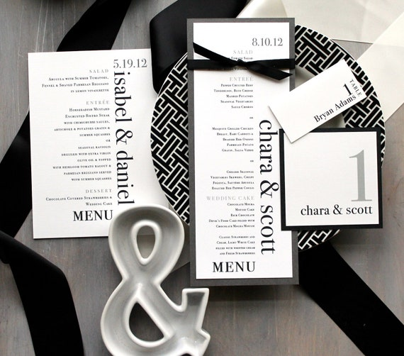 "Modern Wedding Menu, Modern Table Numbers, Custom Place Cards, Black and White Wedding - ""Urban Elegance"" Stationery Deposit"