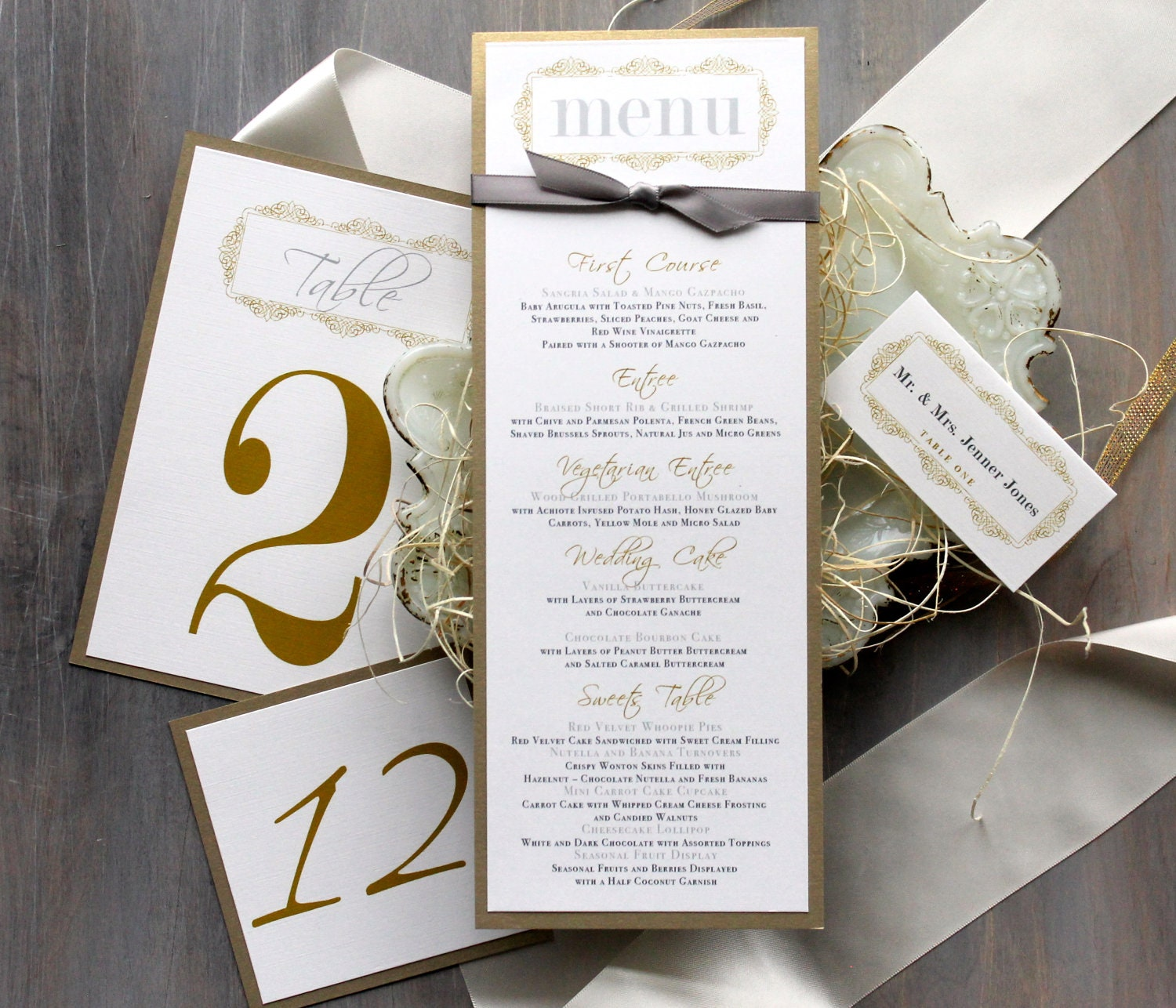 Gold Wedding Menu Cards Personalized Place