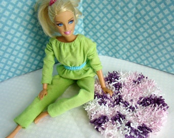 "Barbie Furniture - Rug - 5-1/2"" Round Purple and White Shag - FREE Shipping to anywhere in the USA"