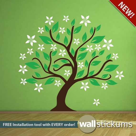 Tree Wall Decal with Flower Buds Living Room Bedroom Nursery Wall Decor