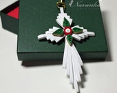 Paper Quilling Cross Ornament in a gift box, Quilled Cross in a box, Baptism Gift, Christening gift
