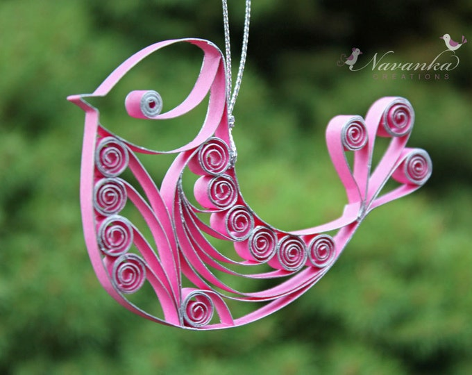 Paper Quilling Pink Bird Ornament, pink gift, breast cancer survivor