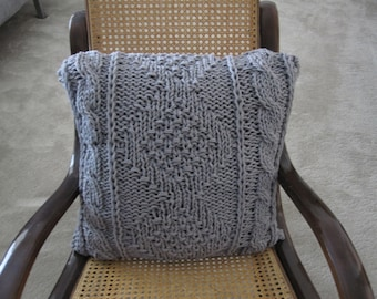 Ready-Made Knit Pillow---EXQUISITE in GREY (20in)