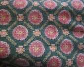 """vtg barkcloth fabric, 3 yards 6""""..35"""" wide, pink and green pattern, lovely pillows, chair seats"""